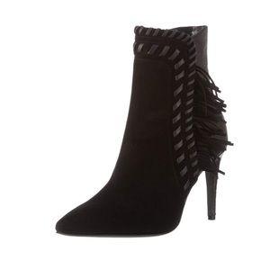 Designer black suede leather fringe booties 9.5